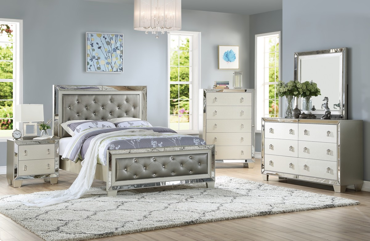 The Uptown Glamour Silver Bedroom Collection Miami Direct Furniture