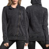 Affliction Womens CIPHER L/S MOTO JACKET BLACK HEAVY LAVA WASH
