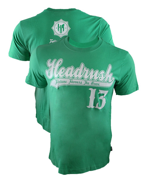 Headrush Baseball Script GREEN Shirt