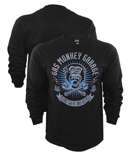 Gas Monkey Garage Logo Blood, Sweat, Beers XReset Long Sleeve Shirt
