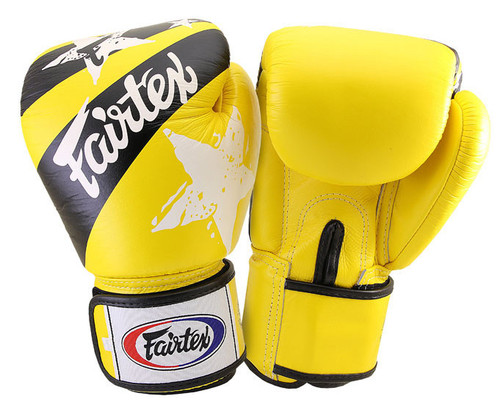 Fairtex Nations Print Muay Thai Sparring Gloves YELLOW