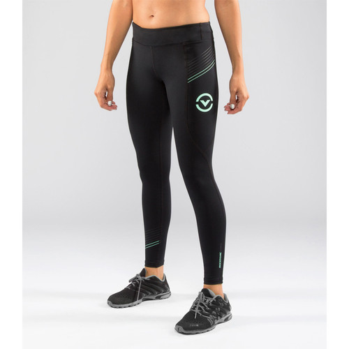 Virus Women's Pinstripe BioCeramic Compression Full Pant (EAu7.5) - Limited Edition- Black/Mint (EAu7.5) front