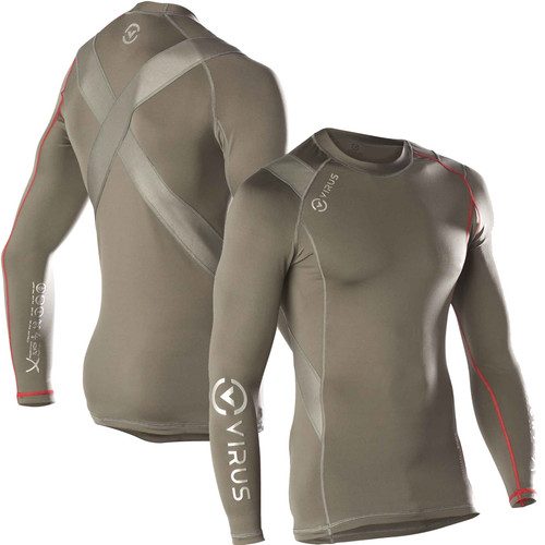 VIRUS Men's Stay Warm Long Sleeve X-Form Compression Crew Neck Shirt