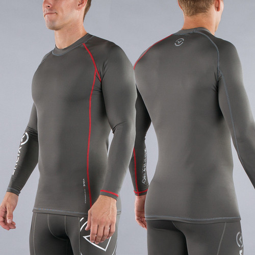 Virus Mens Stay Warm Coffee Charcoal Long Sleeve Compression Top (SiO2)