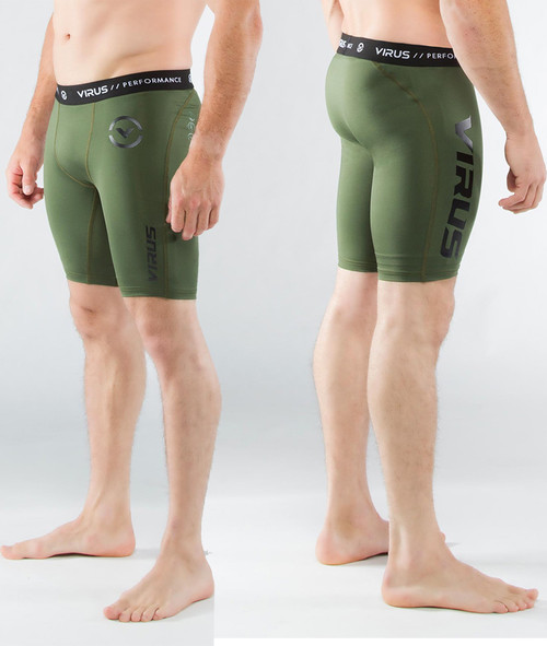 05e75cad4a Virus Men's Stay Cool Compression Short (Co14.5) Olive Green