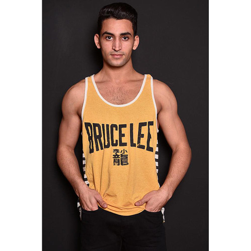 Roots of Fight Bruce Lee Emblem Stripes Yellow Tank Top