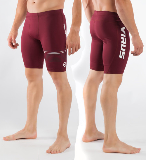 Virus Mens Stay Cool Compression V3 Tech Shorts (CO23) Maroon/White
