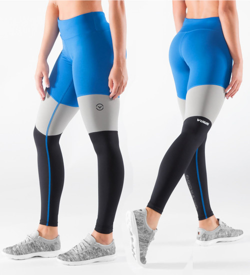Virus Women's Stay Cool Tri-Color Compression Pant (ECO41) Electric Blue/Black