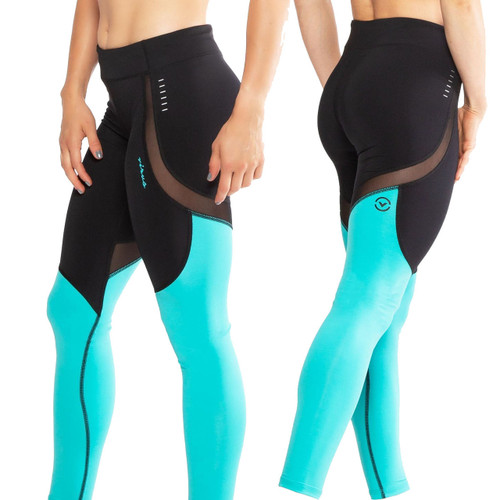 Virus ECo42 Womens Sonic Stay Cool Compression Pants - BLACK/TEAL GREEN