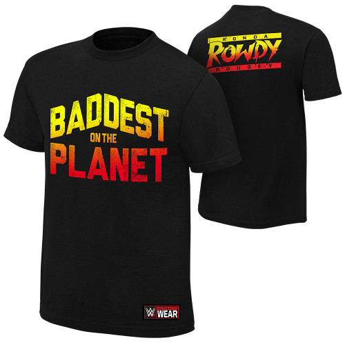 "WWE Ronda Rousey ""Baddest On The Planet"" Authentic Mens T-Shirt"