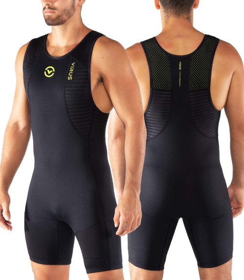 Virus Mens Ascend AU27 Weightlifting SINGLET BLACK/LIME PUNCH