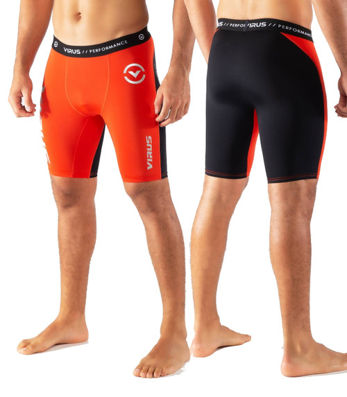 Virus CO14.5 STAY COOL COMPRESSION SHORT - Blood Orange/Black