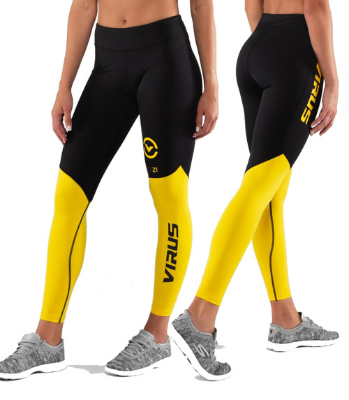Virus ECO21.5 Womens STAY COOL V2 COMPRESSION PANT Black/Lemon
