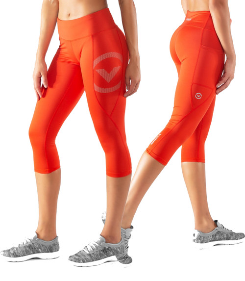 Virus Womens ECO34 STAY COOL COMPRESSION CROP PANT - Blood Orange