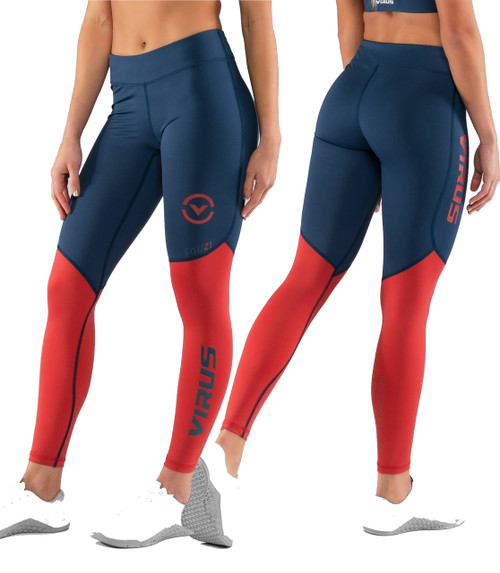 Virus EAU21.5 BIOCERAMIC V2 COMPRESSION PANT - Space Blue/Cranberry