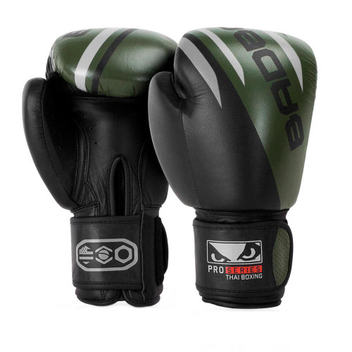 BAD BOY PRO SERIES ADVANCED THAI BOXING GLOVES - BLACK/ARMY GREEN
