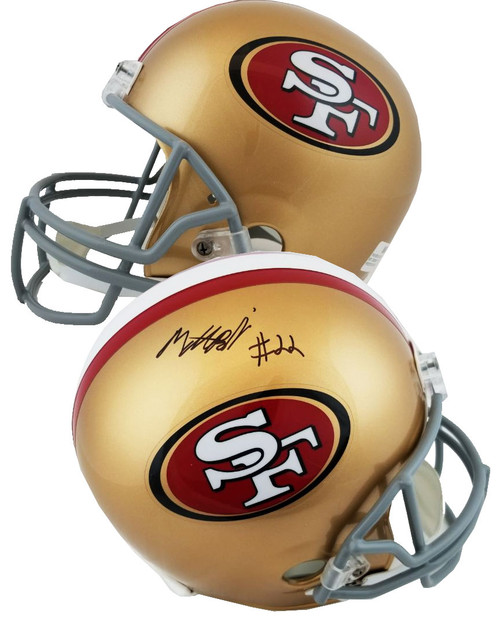 Authentic Matt Breida Autographed Full Size Replica San Francisco 49ers Helmet (Beckett Witness COA)