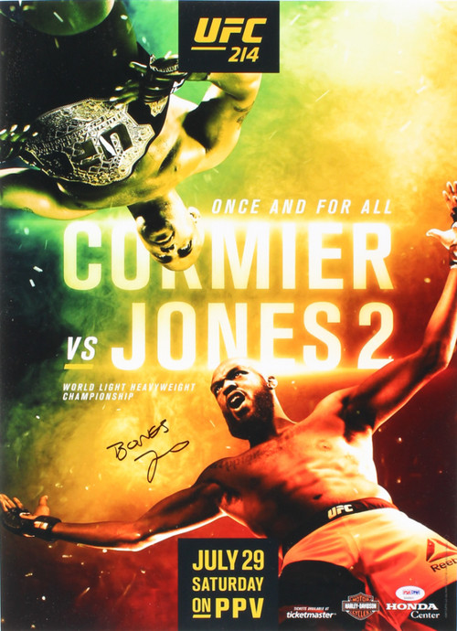 "Jon ""Bones"" Jones Autographed UFC 214 Fight Poster vs. Cormier 16x22 Photo (PSA COA)"