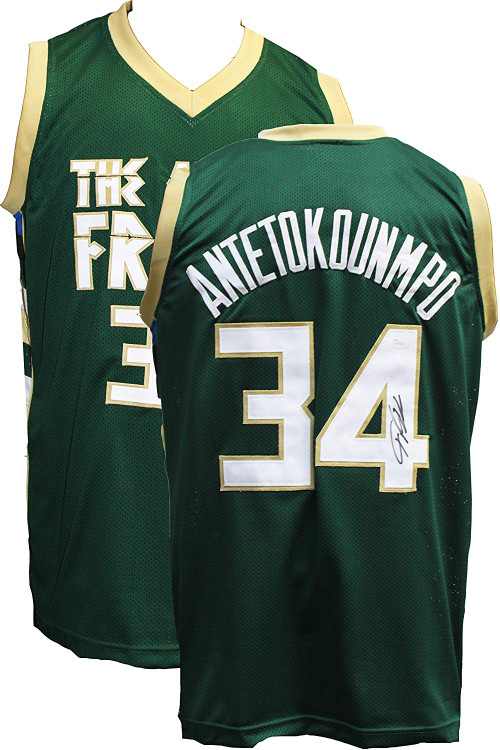 Authentic Giannis Antetokounmpo Autographed Greek Freak Basketball Jersey JSA COA Milwaukee Bucks