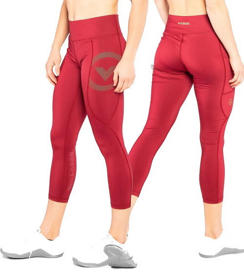 VIRUS EAU28 BIOCERAMIC™ 7/8TH LENGTH COMPRESSION PANT - OX BLOOD/GOLD