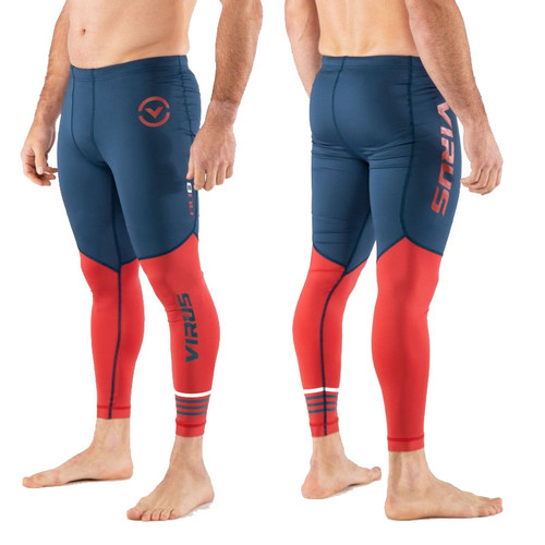 Virus Men's Bioceramic Compression Tech Pants (AU8.5) Space Blue/Cranberry