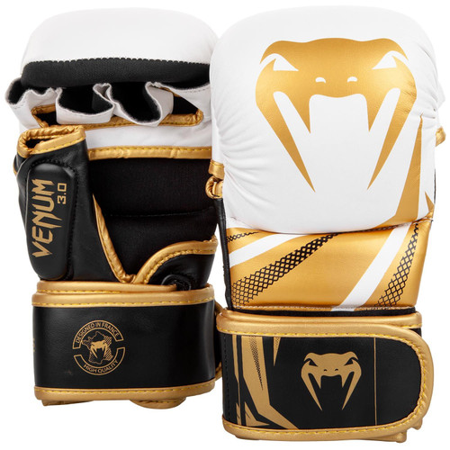 VENUM SPARRING GLOVES CHALLENGER 3.0 - WHITE/BLACK/GOLD