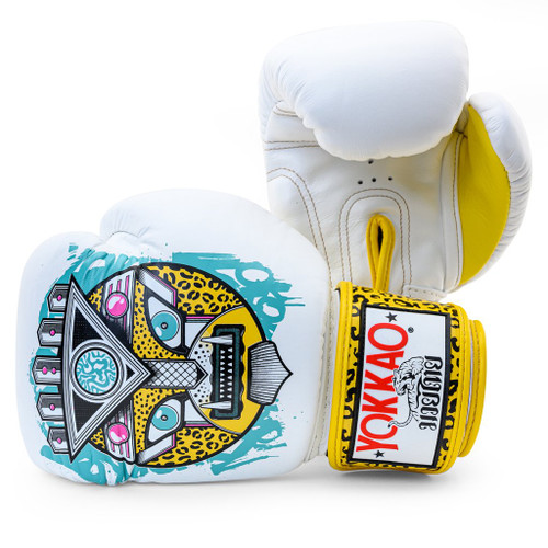 YOKKAO APEX LEOPARD MUAY THAI WHITE BOXING GLOVES