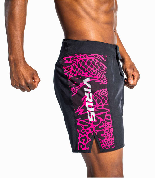 VIRUS DISASTER 2 COMBAT SHORTS - BLACK/HOT PINK