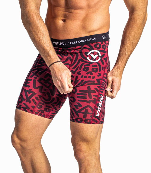 VIRUS CO14.5 TRIBAL SHORTS BURNT RED/BLACK