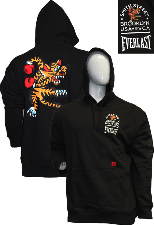 RVCA X EVERLAST BIG CAT BLACK HOODIE
