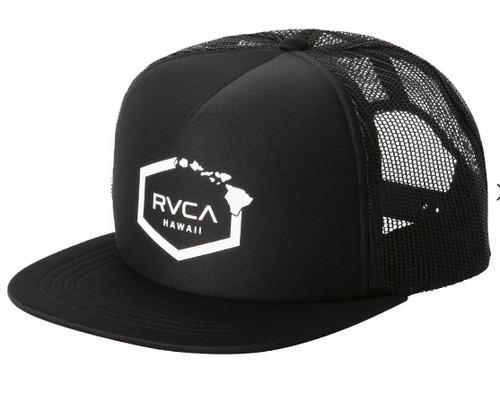 RVCA HAWAII HEX BLACK TRUCKER HAT
