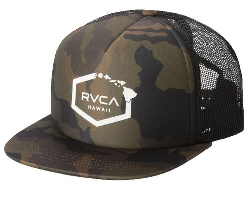 RVCA HAWAII HEX CAMO TRUCKER HAT