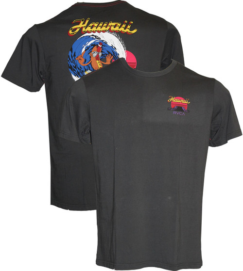 RVCA HOT DOG HAWAII SHORT SLEEVE PIRATE BLACK T-SHIRT