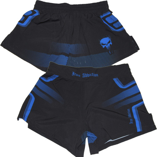 Iron Addiction Tron Kickboxing Black/Blue Shorts