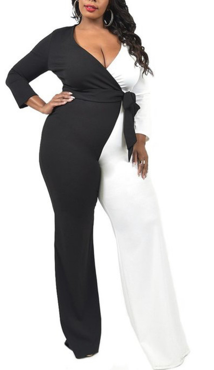 Plus Size Black and White Color Block Jumpsuit