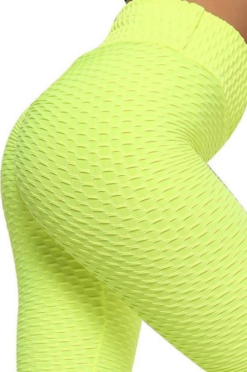 Neon Yellow Better Booty 2 High Waist Honeycomb Hip Shirring Leggings