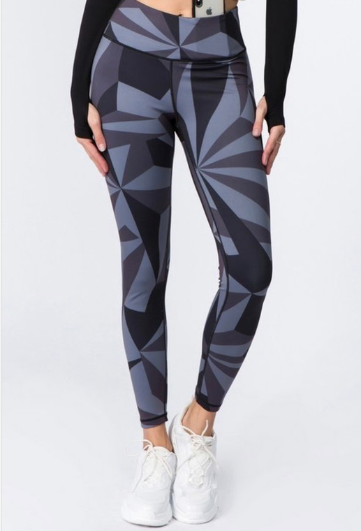 Black Abstract Activewear Leggings