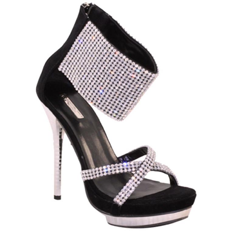 Wild Rose Club-03 Black Dressy Sandals