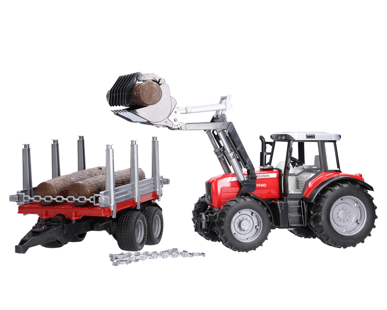 Massey Ferguson 7480 with Frontloader and Timber Trailer