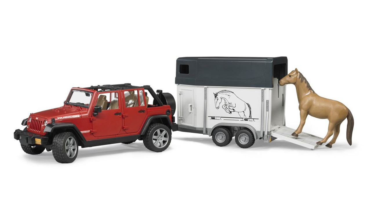 Bruder Jeep Wrangler Unlimited Rubicon With Horse Trailer And 1 Horse 4001702029265
