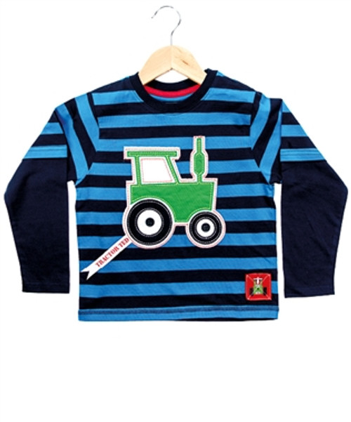 Tractor Ted Stripey Long Sleeve T-Shirt (Blue)