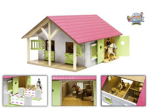 Kids Globe 1:24 Scale Pink Horse Stable (0168)
