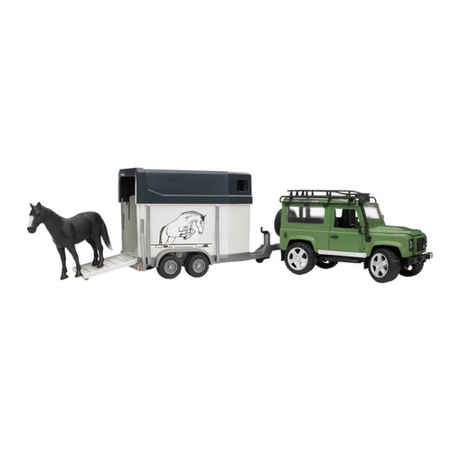 Bruder Land Rover with Horse Trailer and Horse (2592)