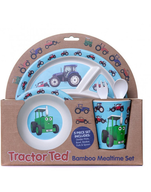 Tractor Ted Bamboo Mealtime Gift Set with Cutlery - Tractor