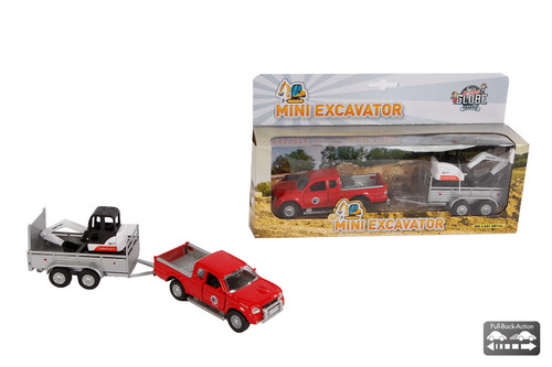 Kids Globe Die Cast Jeep with Mini Excavator (0090)