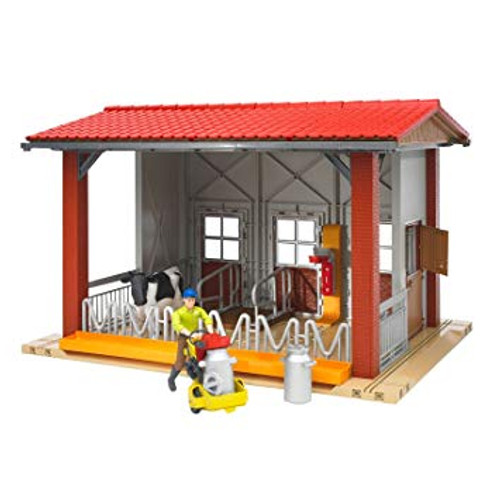 Bruder bWorld Cow Barn with Milking Machine, Cow and Farmer (B62621)