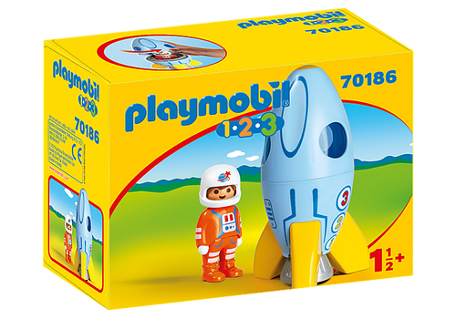 Playmobil 1.2.3 Astronaut with Rocket (70186)