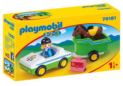 Playmobil 1.2.3 Car with Horse Trailer (70181)