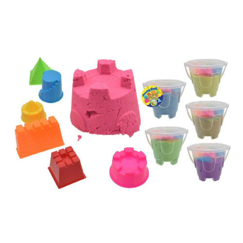 Kandy Toys Bucket of Moving Sand with 6 Moulds