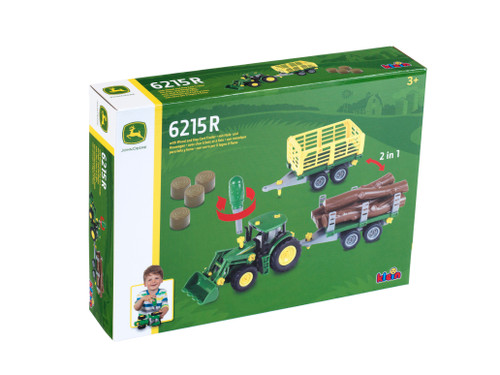 Theo Klein John Deere 6215R Tractor with Wood & Hay Cart (3906)